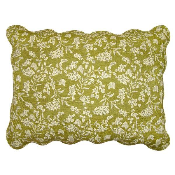 Green Toile Reversible Cotton Standard Sham