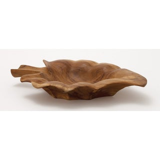 Teak Wood Leaf Bowl 16-inch x 2-inch
