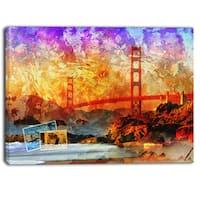 Designart - San Francisco Bridge - Contemporary Canvas Art Print - YELLOW