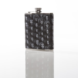 For The Love of Skulls Flask in Silver