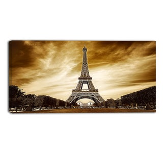 Designart - Eiffel Tower in Grey Shade - Landscape Photo Canvas Print
