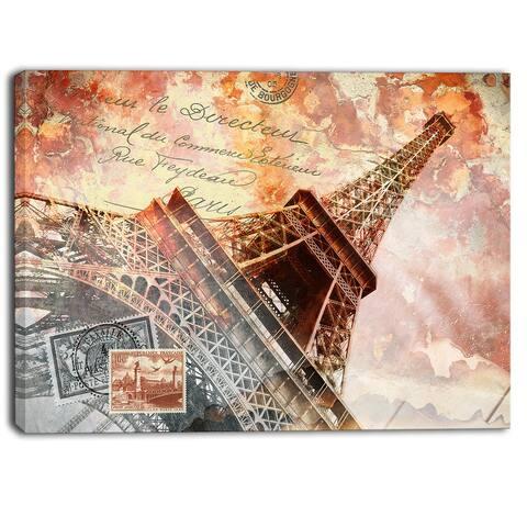 Designart - Eiffel Tower Paris - Contemporary Canvas Art Print - Brown