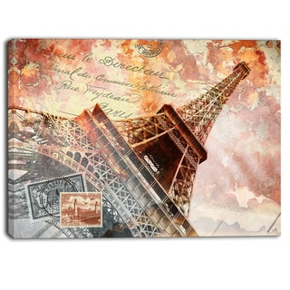 Designart - Eiffel Tower Paris - Contemporary Canvas Art Print
