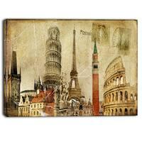 Designart - Vintage Postal Card - Contemporary Canvas Art Print - Brown