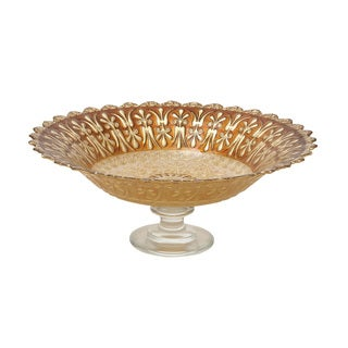 Glass Footed Brown Bowl 16-inch x 6-inch