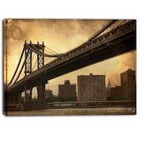 Designart - Dark Manhattan Bridge - Photo Canvas Art Print - Brown