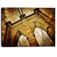 Designart - Vintage Brooklyn Bridge - Contemporary Canvas Art Print - Brown