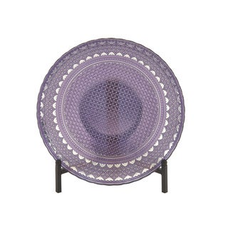 Glass Purple Bowl With Stand 16-inch