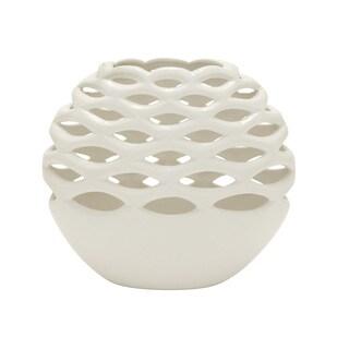 Ceramic Silver Vase -inch 10-inch x 10-inch x 10-inch
