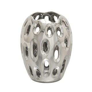 Ceramic Silver Vase 11-inch x 13-inch