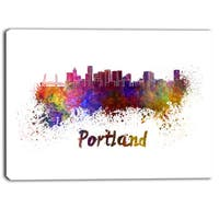Designart - Portland Skyline - Cityscape Canvas Artwork Print - Purple