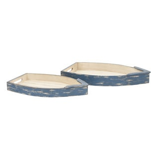 The Gray Barn Cocklebur 2-piece Wood Boat Tray Set (20'' x 23'')