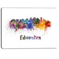 Designart - Edmonton Skyline - Cityscape Canvas Artwork Print - Purple