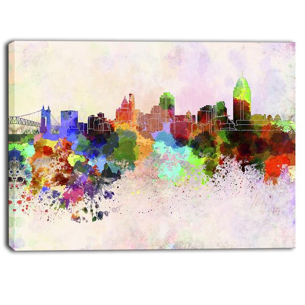 Designart - Cincinnati Skyline - Cityscape Canvas Artwork Print