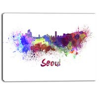 Designart - Seoul Skyline - Cityscape Canvas Artwork Print - Purple