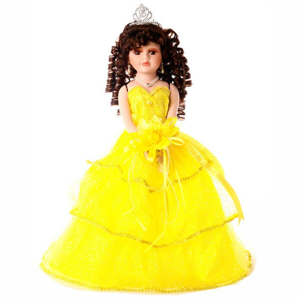 Cherish Crafts Yellow 16-inch Porcelain Quinceanera Doll