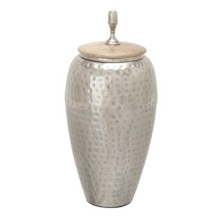 The Curated Nomad Jiminez Metal Wood Jar 7-inch X 16-inch
