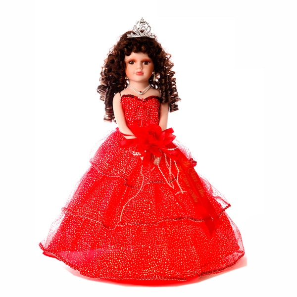 Cherish Crafts Red 16-inch Porcelain Quinceanera Doll