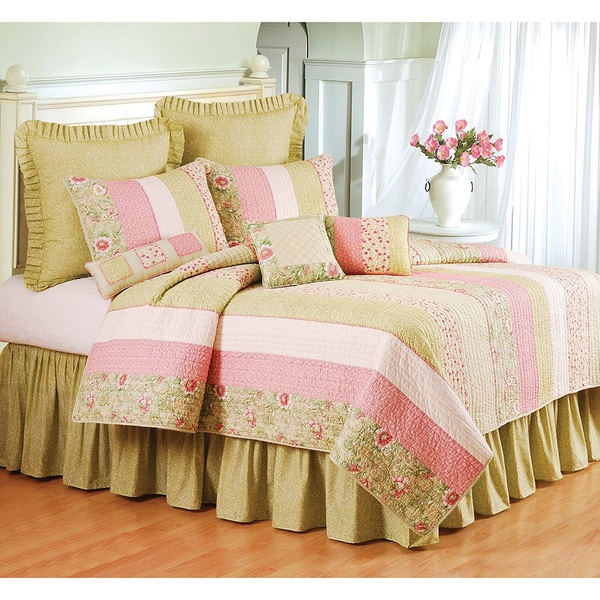 Amberly Green and Pink Floral Patch Cotton Standard Sham