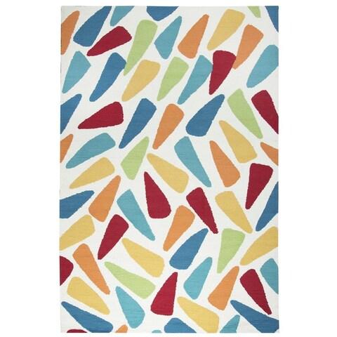 Rizzy Home Azzura Hill Collection Multicolored Geometric Area Rug (5' x 7'6) - 5' x 7'6