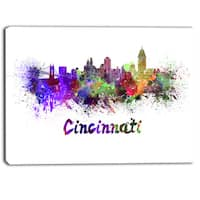 Designart - Cincinnati Skyline - Cityscape Canvas Artwork Print - Purple