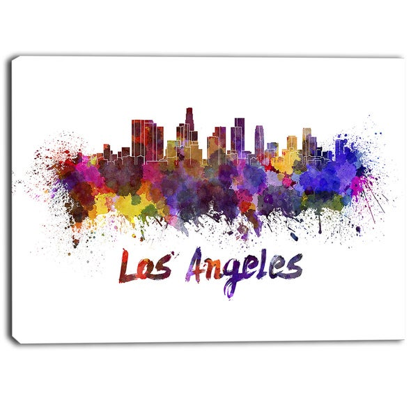 Designart - Los Angeles Skyline - Cityscape Canvas Artwork Print - Purple
