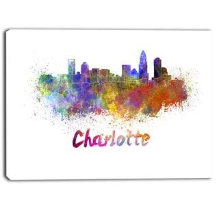 Designart - Charlotte Skyline - Cityscape Canvas Artwork Print