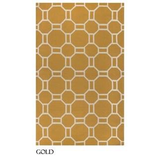 Rizzy Home Azzura Hill Collection Bi-colored Geometric Area Rug (5' x 7'6)
