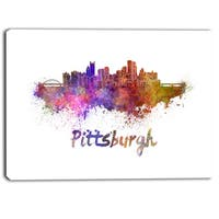 Designart - Pittsburgh Skyline - Cityscape Canvas Artwork Print - Purple
