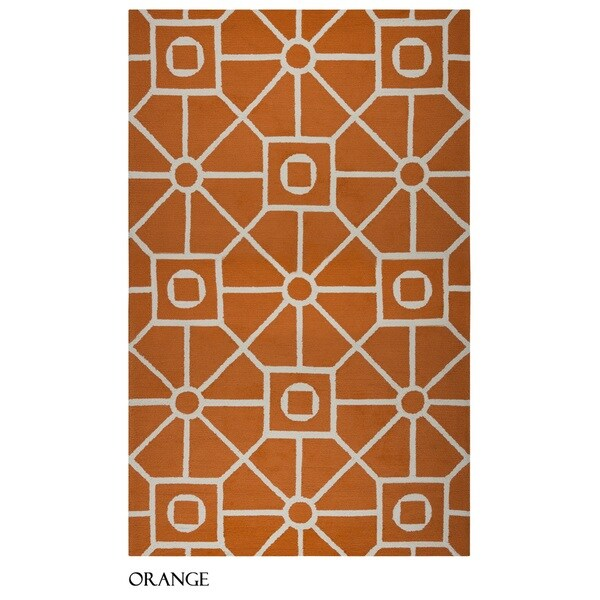 Rizzy Home Azzura Hill Collection Orange Geometric Accent Rug (3'6 x 5'6)