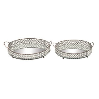 Metal Mirror Bead Tray 15-inch x 17-inch (Set of 2)
