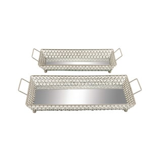 Metal Mirror Bead Tray 19-inch x 22-inch (Set of 2)