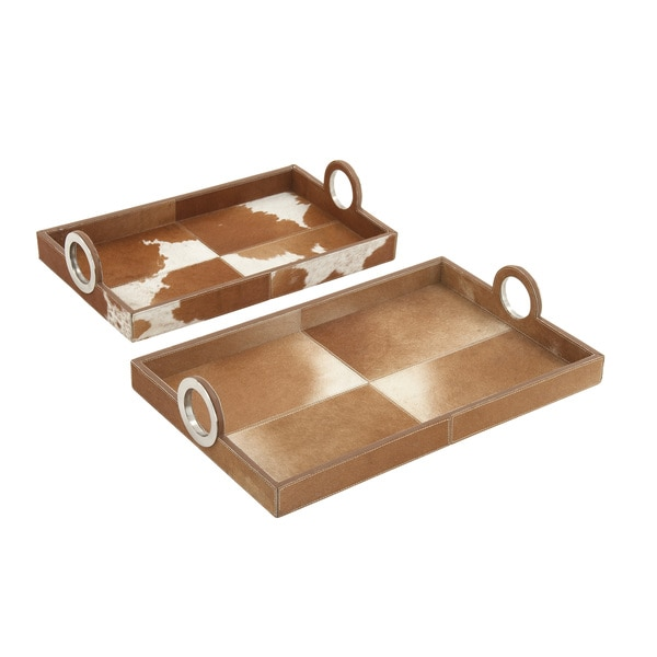 Tan Hair on Rectangle Tray (Set of 2)