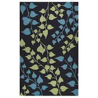 Rizzy Home Azzura Hill Collection Teal Floral Area Rug - 9' x 12'