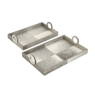 Grey Hair on Rectangle Tray (Set of 2)