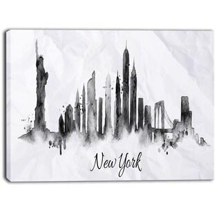 Designart - Silhouette Ink New York - Cityscape Canvas Art Print