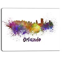 Designart - Orlando Skyline - Cityscape Canvas Art Print - Purple
