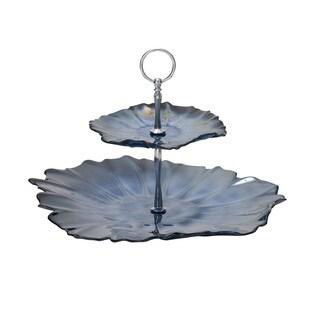 Glass Metal 2 Tier Tray 14-inch x 10-inch