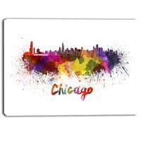 Designart - Chicago Skyline - Cityscape Canvas Art Print - YELLOW