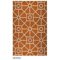 Rizzy Home Azzura Hill Collection Orange Geometric Accent Rug - 7'6 x 9'6