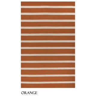 Rizzy Home Azzura Hill Collection Striped Accent Rug (5' x 7'6)