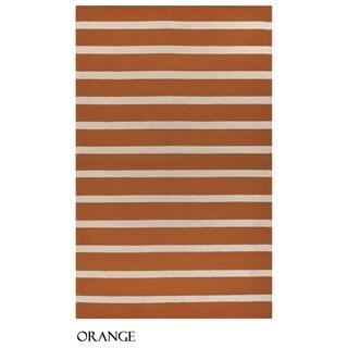 """Rizzy Home Azzura Hill Collection Bi-colored Striped Area Rug (7'6 x 9'6) - 7'6"""" x 9'6"""""""