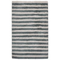 Rizzy Home Tabor Belle Collection Blue/ Ivory Striped Polyester Shag Area Rug - 3'6 x 5'6