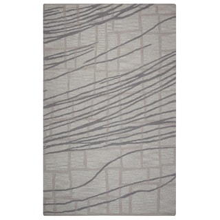 Rizzy Home Loureli Collection Ivory/ Grey Striped Area Rug (5' x 8')