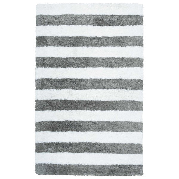 """Rizzy Home Tabor Belle Collection Striped Polyester Shag Area Rug - 3'6"""" x 5'6"""""""