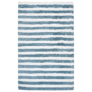 Rizzy Home Tabor Belle Collection Polyester Striped Shag Area Rug (5' x 8') - 5' x 8'