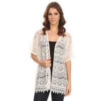 MOA Collection Women's Sleeved Crochet Fringe Top