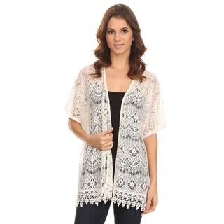 MOA Collection Women's Sleeved Crochet Fringe Top