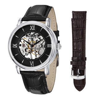 Stuhrling Original Men's Legacy Mechanical Watch Set with Black, and Brown Leather Strap