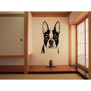 Boston Terrier Dog Funny Ears Wall Art Sticker Decal